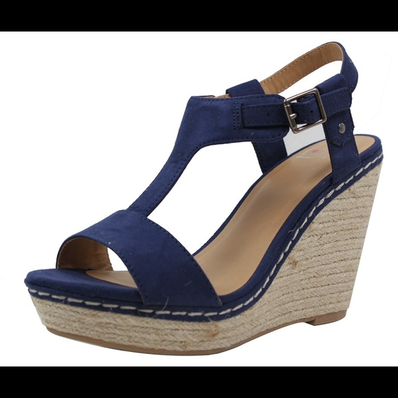8a28ccb6f75 Navy open toe t strap espadrilles Wedge Sandal Boutique